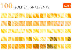 Golden gradient vector 100 elements. Vector set of gold gradients.Golden squares collection Royalty Free Stock Images