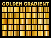 Golden gradients. Gold squares metal gloss gradient swatches, empty metallic yellow plate frame, label texture. Vector. Golden gradients. Gold squares metal vector illustration