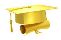 Golden graduation cap diploma, 3D rendering Stock Image