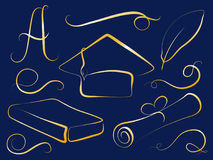 Golden graduation cap and education element. Graduation day  clipart. Stock Image