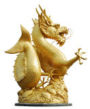 Golden gragon statue. Gold Dragon Sculpture Figure Art China, Phuket Thailand,generality in thailand , any kind of art decorated in budhist church ,temple Stock Photography