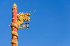 Golden gragon statue Stock Image