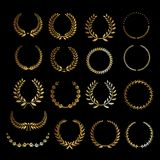 Golden grain shapes and labels. Shapes Royalty Free Stock Photography