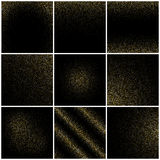 Golden grain textures, gold confetti rain on black, glitter festive backgrounds vector set Stock Photos