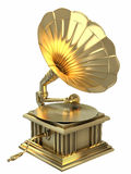 Golden gramophone Royalty Free Stock Image