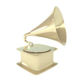 Golden Gramophone Isolated on White. 3d illustration Royalty Free Stock Photo