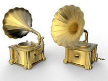 Golden gramophones. 3D render of two golden gramophones. The objects are isolated on a white background with shadows Stock Photography
