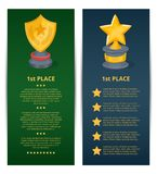 Golden grand prizes of star and shield shapes. Championship awards ceremony banners, trophy cup vector illustration. Sport competition event, success and Royalty Free Stock Image