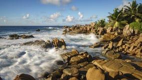 Golden granite rocks on the seychelles 4 Stock Photo