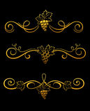 Golden grape borders Royalty Free Stock Photos