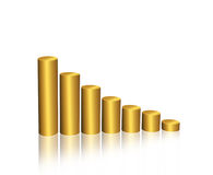 Golden graph. Golden stats graph on white background Stock Photography