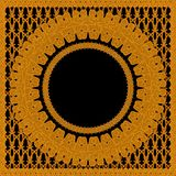 Golden graphic ornament on black background. 3d render golden ornament on black background  with tracery patterns Royalty Free Stock Images