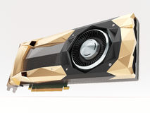 Golden graphic video card on white. 3d illustration Royalty Free Stock Photography