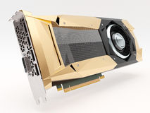 Golden graphic video card on white. 3d illustration Stock Image