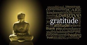 Golden Gratitude Meditating Buddha Banner stock image