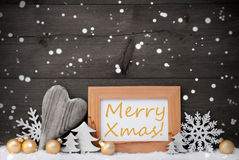 Golden Gray Christmas Decoration, Snow,Merry Xmas, Snowflake Royalty Free Stock Image
