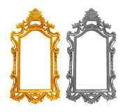 Golden and Gray vintage frame on white background Royalty Free Stock Photo