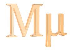 Golden Greek letter mu, 3D rendering Stock Image