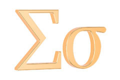 Golden Greek letter sigma, 3D rendering Stock Photography