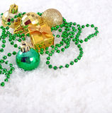 Golden and green Christmas decorations Royalty Free Stock Images