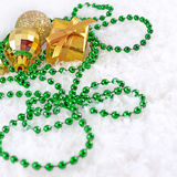 Golden and green Christmas decorations Stock Photos