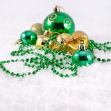Golden and green Christmas decorations Stock Image