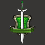 Golden and green coat of arms. With a sword isolated on grey vector illustration