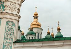 Golden  and green domes of church in Kiev,Ukraine.Travel photo. Golden  and green domes of church Stock Image