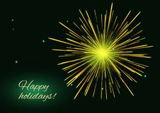 Golden green fireworks background, copy space Stock Photography