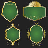 Golden and green framed labels Royalty Free Stock Photo