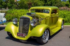 Golden green hot rod car royalty free stock photo