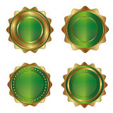 Golden-green luxury labels Stock Photography
