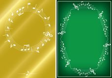 Golden and green musical backgrounds with white frames - vector royalty free illustration