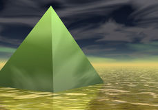 Golden green pyramid Stock Photo