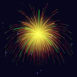 Golden green red fireworks holidays background. Vector red golden green fireworks over night sky. 4th of July Independence Day, New Year holidays background Royalty Free Stock Photos