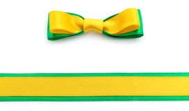 Golden and green ribbon border. Golden ribbon and green border isolated on white background royalty free stock image