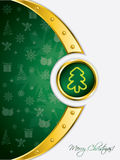 Golden greeting card for christmas. Gold and green greeting card for christmas holidays Stock Images