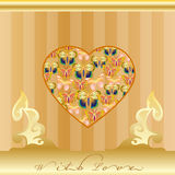 Golden greeting card with love icon Stock Images