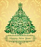 Golden greeting christmas card Royalty Free Stock Image