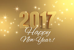 Golden greetings 2017. Gold 2017 year type and greetings on a bright golden background - 3D illustration Stock Photography