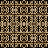 Golden grid in antique design. Symmetric vintage golden patterns on black background. Nostalgic art deco style. Royalty Free Stock Images