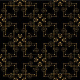 Golden grid on black background. Seamless pattern Royalty Free Illustration