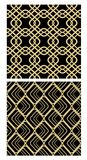 Golden grid seamless decorative tile on black background, simple geometric net in revival style Stock Photography