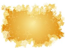 Golden grunge background. Winter background with stars, snow and grunge elements. Artwork grouped and layered. Use of radial and linear gradients Stock Photo