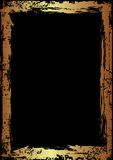 Golden Grunge Frame. With Black Copy Space Stock Photos