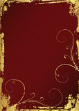 Golden Grunge Frame. With ornament Stock Photography