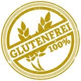 Golden grunge gluten free stamp with German word GLUTENFREI. Golden grunge 100 percent gluten free rubber stamp with German word GLUTENFREI vector illustration Royalty Free Stock Image