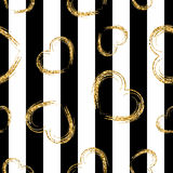 Golden grunge hearts stripes seamless pattern Royalty Free Stock Photo