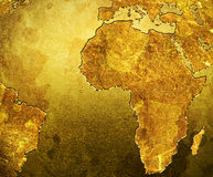 Golden Grungy Map. Of Africa Royalty Free Stock Photo