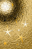 Golden grungy vertical background with pentagonal stars and metal shine Stock Photography